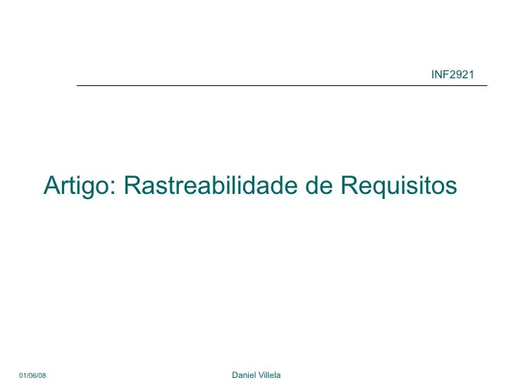 Artigo: Rastreabilidade de Requisitos INF2921
