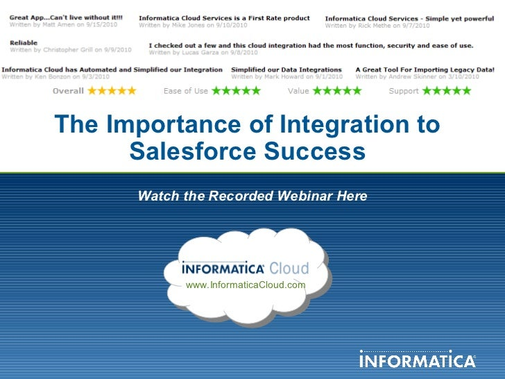The Importance of Integration to Salesforce Success Watch the Recorded Webinar Here www.InformaticaCloud.com