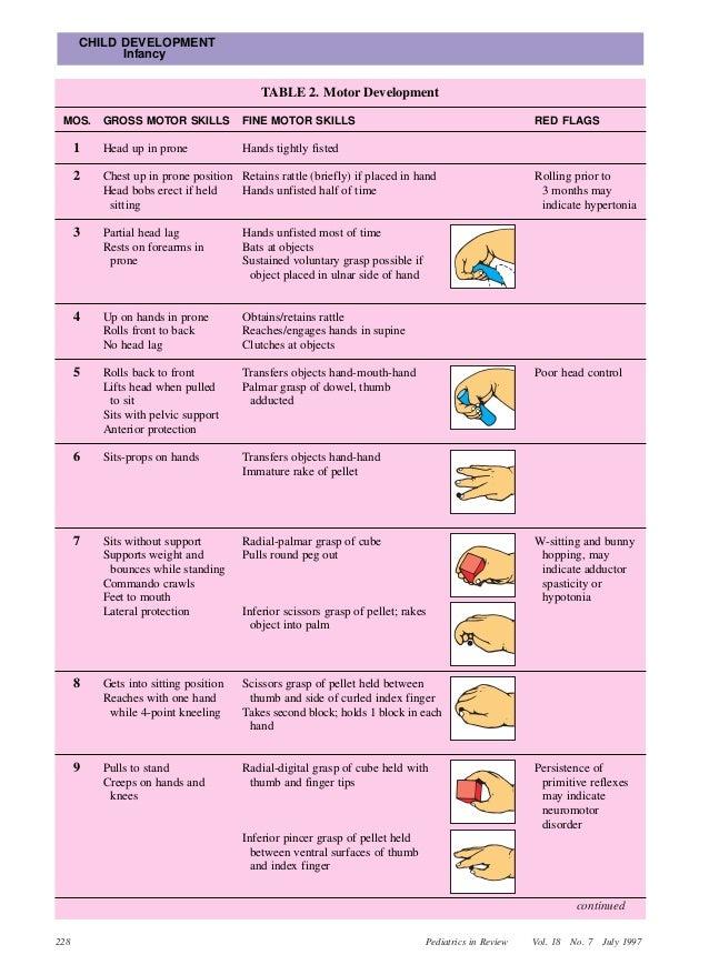 Infant growth and development for Fine motor skills assessment checklist