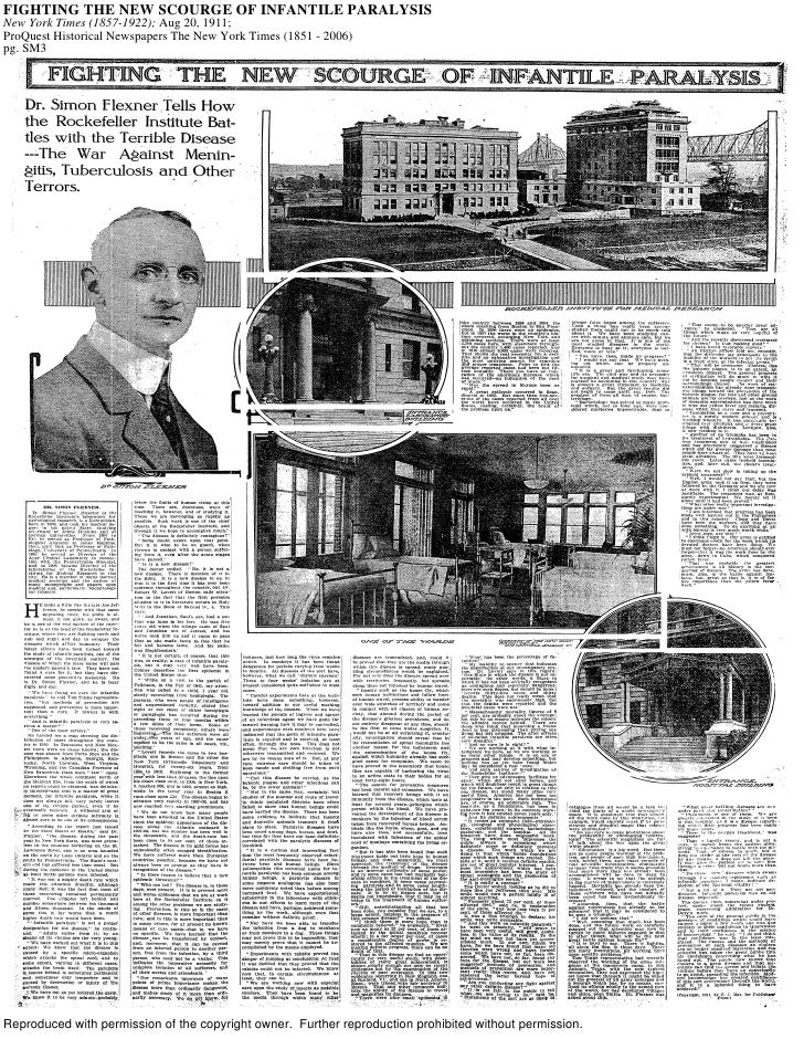 FIGHTING THE NEW SCOURGE OF INFANTILE PARALYSIS New York Times (1857-1922); Aug 20, 1911; ProQuest Historical Newspapers T...