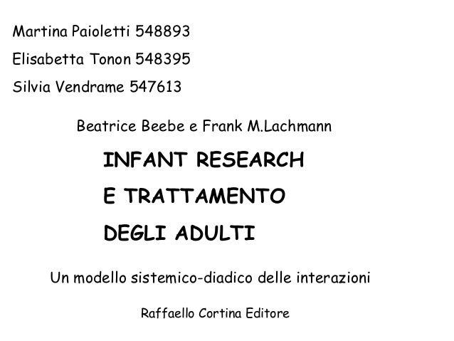 Martina Paioletti 548893 Elisabetta Tonon 548395 Silvia Vendrame 547613 Beatrice Beebe e Frank M.Lachmann  INFANT RESEARCH...