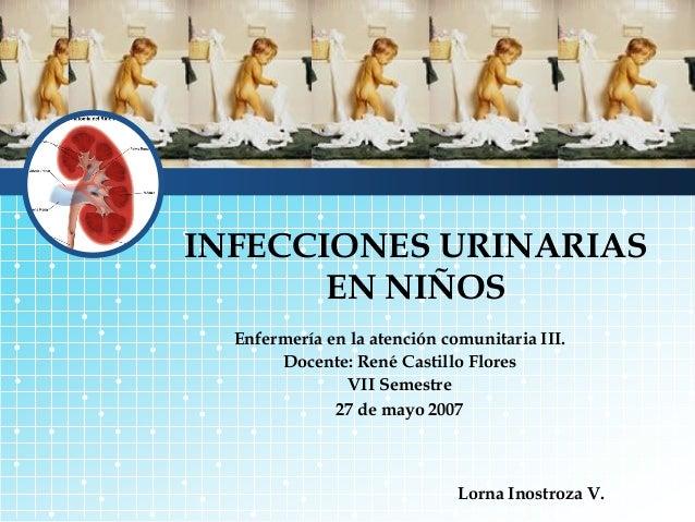 INFECCIONES URINARIAS       EN NIÑOS  Enfermería en la atención comunitaria III.       Docente: René Castillo Flores      ...