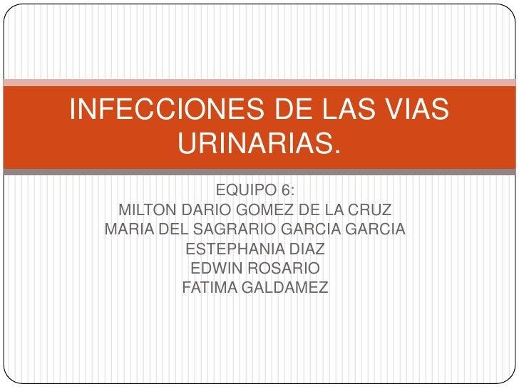 INFECCIONES DE LAS VIAS      URINARIAS.              EQUIPO 6:   MILTON DARIO GOMEZ DE LA CRUZ  MARIA DEL SAGRARIO GARCIA ...