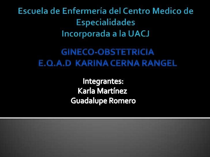 Escuela de Enfermería del Centro Medico de EspecialidadesIncorporada a la UACJ<br />GINECO-OBSTETRICIA<br />E.Q.A.D  KARIN...