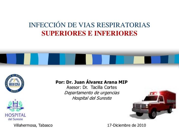 INFECCIÓN DE VIAS RESPIRATORIAS           SUPERIORES E INFERIORES                        Por: Dr. Juan Álvarez Arana MIP  ...