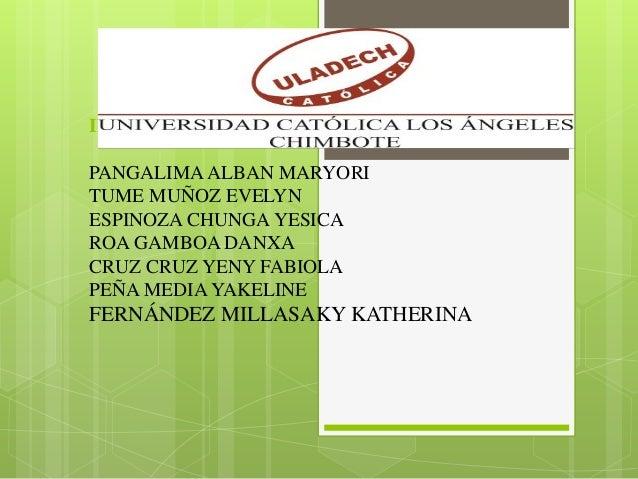INTEGRANTES: PANGALIMA ALBAN MARYORI TUME MUÑOZ EVELYN ESPINOZA CHUNGA YESICA ROA GAMBOA DANXA CRUZ CRUZ YENY FABIOLA PEÑA...