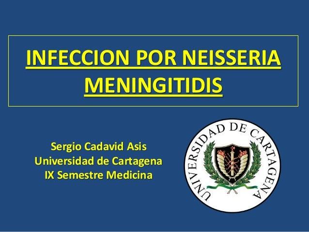 INFECCION POR NEISSERIA MENINGITIDIS Sergio Cadavid Asis Universidad de Cartagena IX Semestre Medicina
