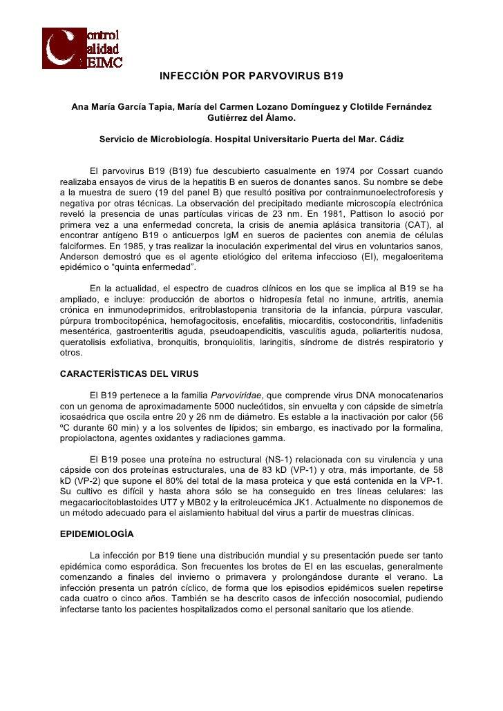 INFECCIÓN POR PARVOVIRUS B19  Ana María García Tapia, María del Carmen Lozano Domínguez y Clotilde Fernández              ...