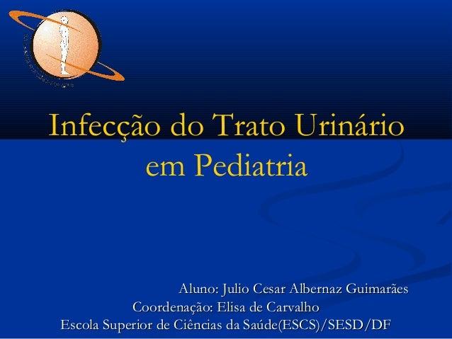 Infecção do Trato Urinário em Pediatria  Aluno: Julio Cesar Albernaz Guimarães Coordenação: Elisa de Carvalho Escola Super...