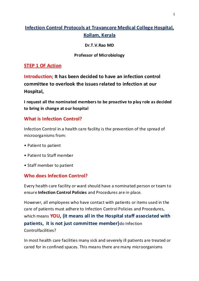 Infection control protocols at travancore medical college hospital