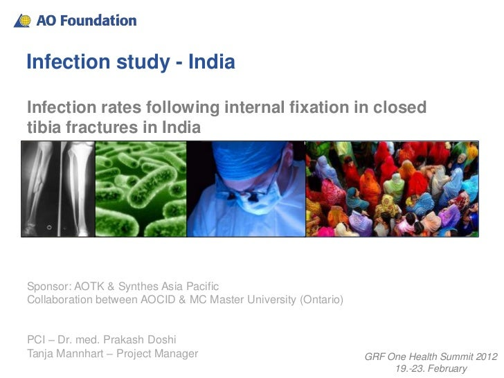 Infection study - IndiaInfection rates following internal fixation in closedtibia fractures in IndiaSponsor: AOTK & Synthe...