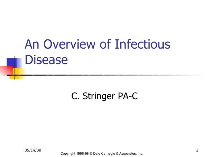 An Overview of Infectious Disease  C. Stringer PA-C Copyright 1996-98 © Dale Carnegie & Associates, Inc.