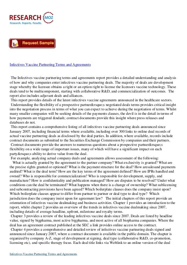 Infectives Vaccine Partnering Terms and Agreements The Infectives vaccine partnering terms and agreements report provides ...