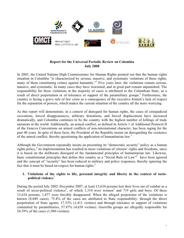 Report for the Universal Periodic Review on Colombia, 2008