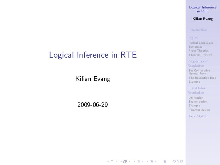 Logical Inference                                 in RTE                              Kilian Evang                        ...