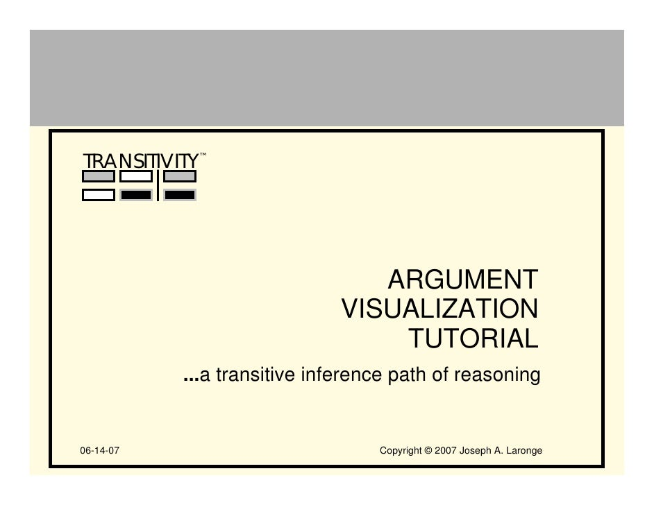 TRANSITIVITY™                                     ARGUMENT                              VISUALIZATION                     ...