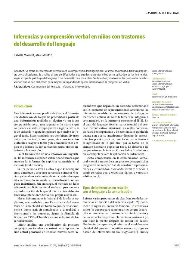 S141www.neurologia.com Rev Neurol 2013; 56 (Supl 1): S141-S146trastornos del lenguajeIntroducciónUna inferencia es una pr...