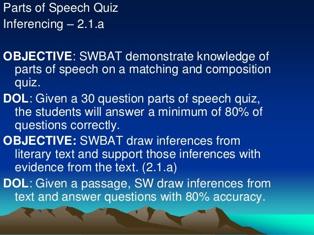 Parts of Speech Quiz Inferencing – 2.1.a OBJECTIVE: SWBAT demonstrate knowledge of parts of speech on a matching and compo...