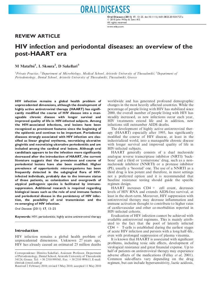 Infezione da hiv e malattie parodontali una panoramica sull era post haart