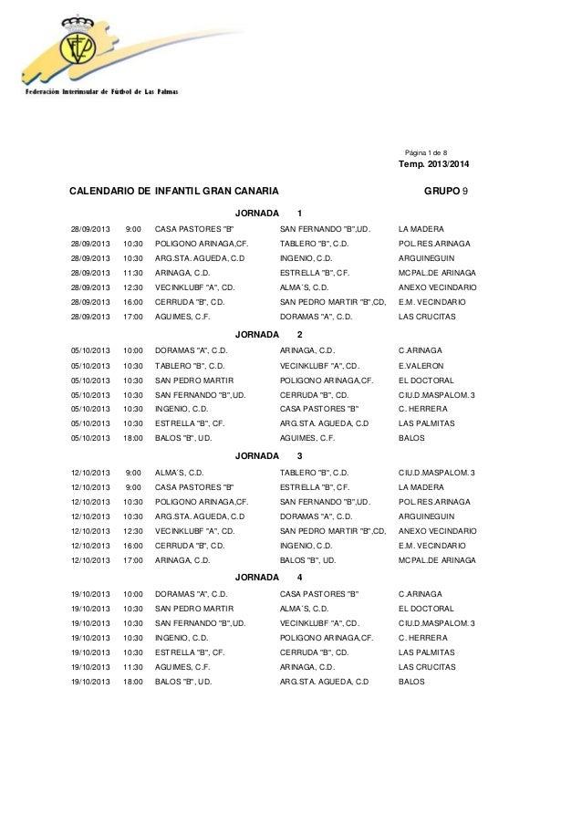 Calendario Infantil Grupo 9 temporada 2013/2014