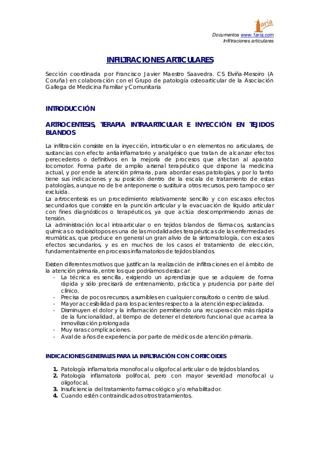 Documentos www.1aria.com Infiltraciones articulares INFILTRACIONES ARTICULARES Sección coordinada por Francisco Javier Mae...