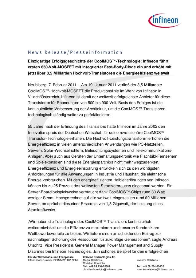 Einzigartige Erfolgsgeschichte der CoolMOS™-Technologie: Infineon führtersten 650-Volt-MOSFET mit integrierter Fast-Body-D...