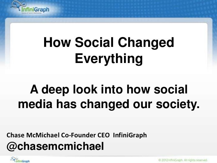 How Social Changed              Everything    A deep look into how social   media has changed our society.Chase McMichael ...