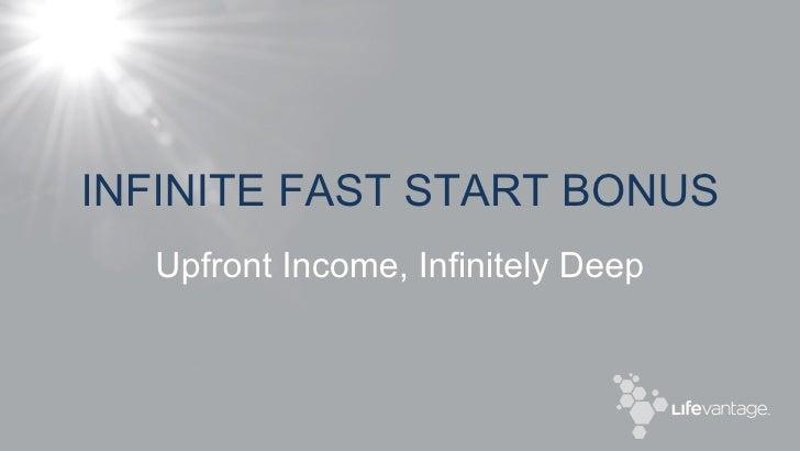 INFINITE FAST START BONUS Upfront Income, Infinitely Deep