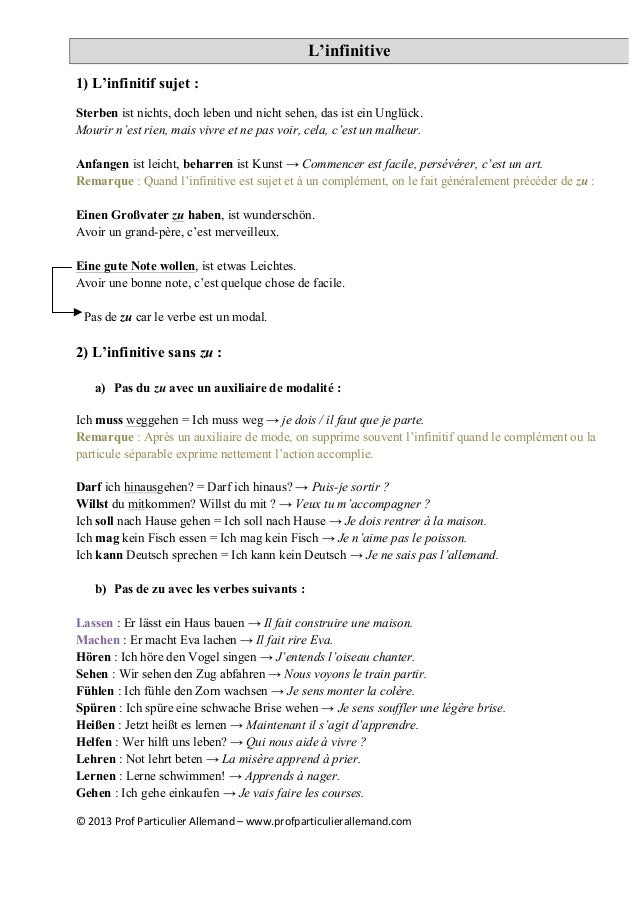 ©	   2013	   Prof	   Particulier	   Allemand	   –	   www.profparticulierallemand.com	    L'infinitive 1) L'infinitif sujet...