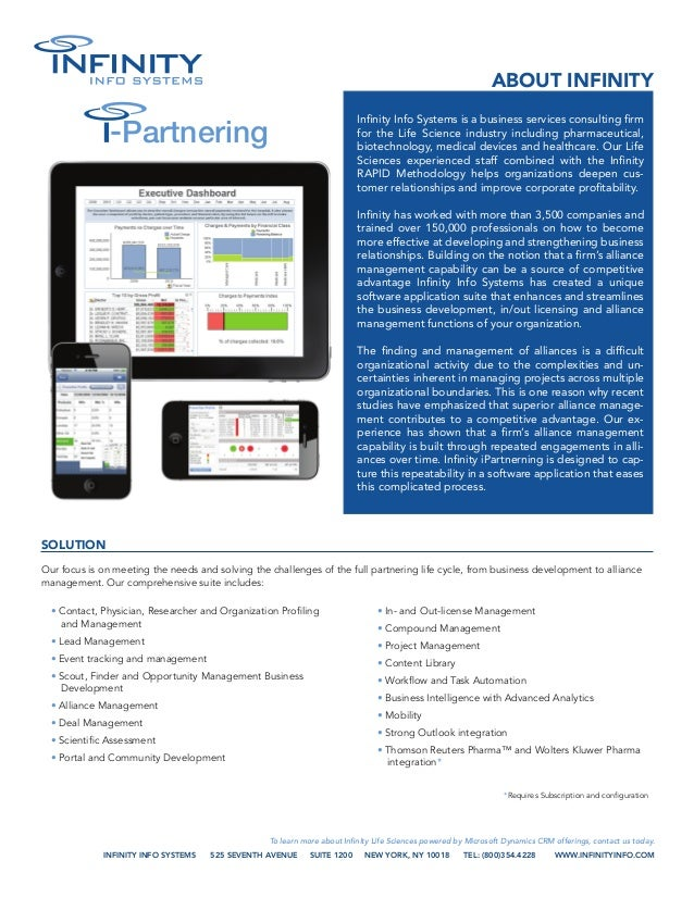 Infinity Life Sciences Partnering and Innovation Data Sheet