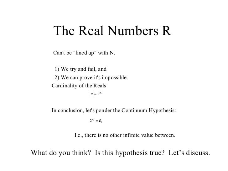 Real Numbers Infinity The Real Numbers r