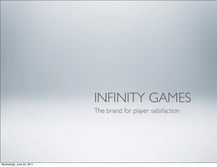 INFINITY GAMES                           The brand for player satisfactionWednesday, June 22, 2011