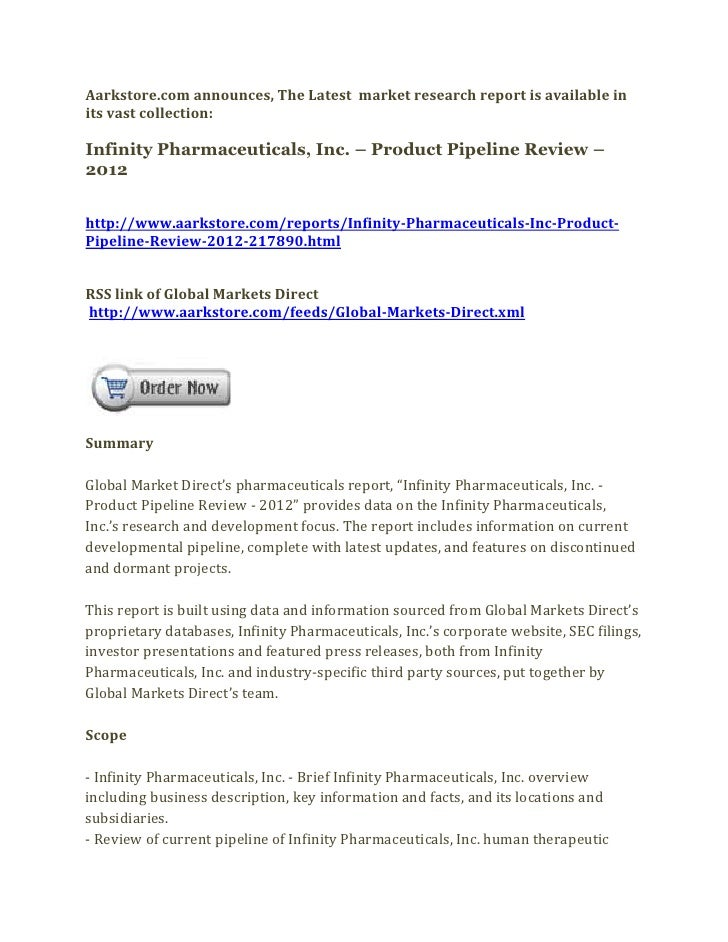 Infinity pharmaceuticals, inc. – product pipeline review – 2012