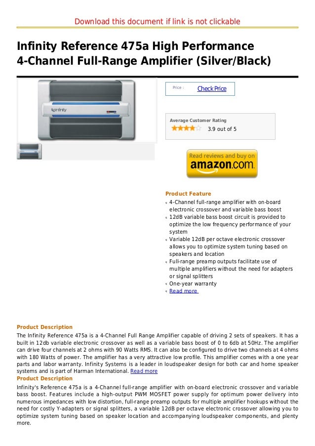 Download this document if link is not clickableInfinity Reference 475a High Performance4-Channel Full-Range Amplifier (Sil...
