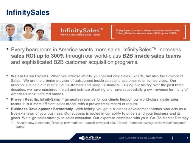 InfinitySales   Every boardroom in America wants more sales. InfinitySales™ increases sales ROI up to 300% through our wo...