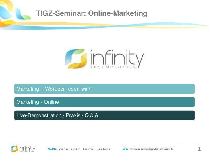 Infinity-Seminar zum Thema Online-Marketing