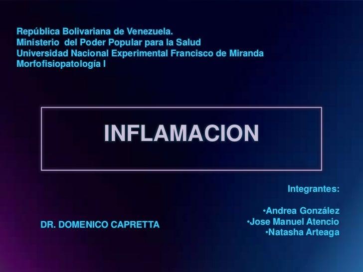 República Bolivariana de Venezuela.Ministerio del Poder Popular para la SaludUniversidad Nacional Experimental Francisco d...