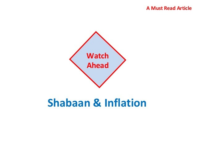 Shabaan & Inflation Watch Ahead A Must Read Article