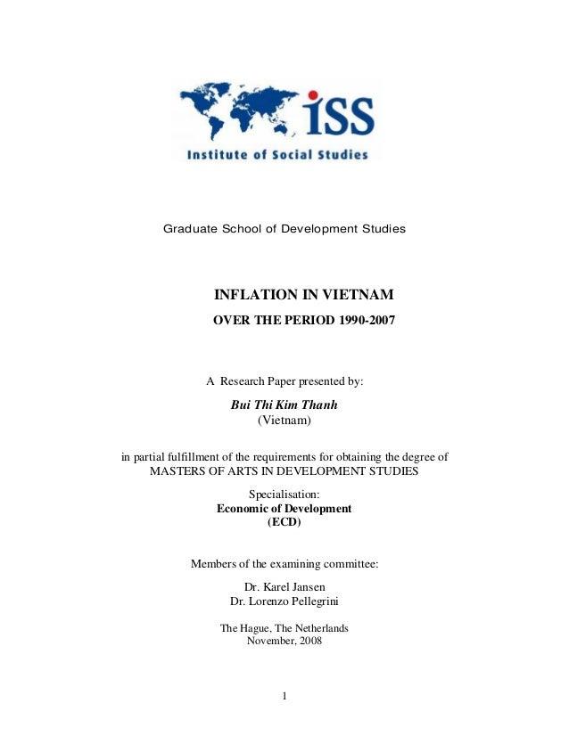Graduate School of Development Studies                   INFLATION IN VIETNAM                   OVER THE PERIOD 1990-2007 ...
