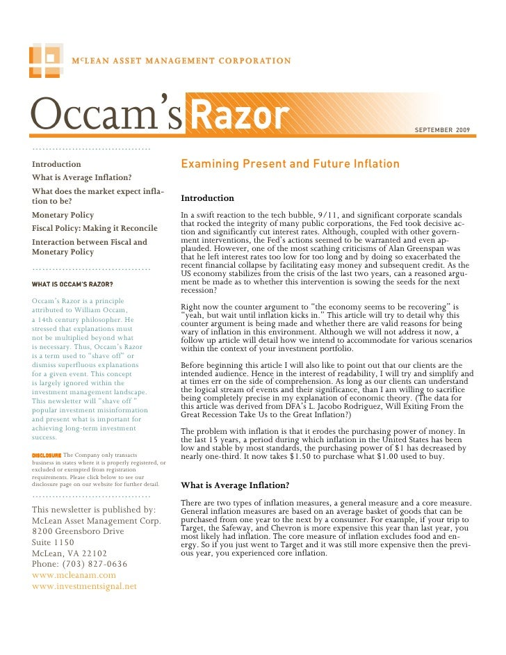 Occam\'s Razor - Inflation (Sept. 2009)