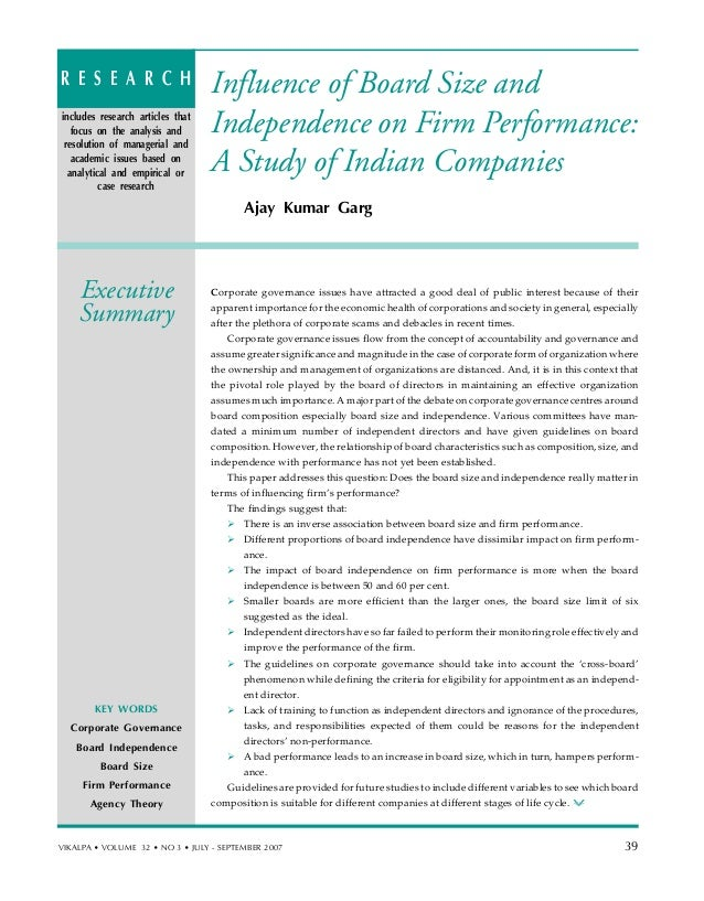 Influence of Board Size and Independence on Firm Performance: A Study of Indian Companies Ajay Kumar Garg Corporate govern...