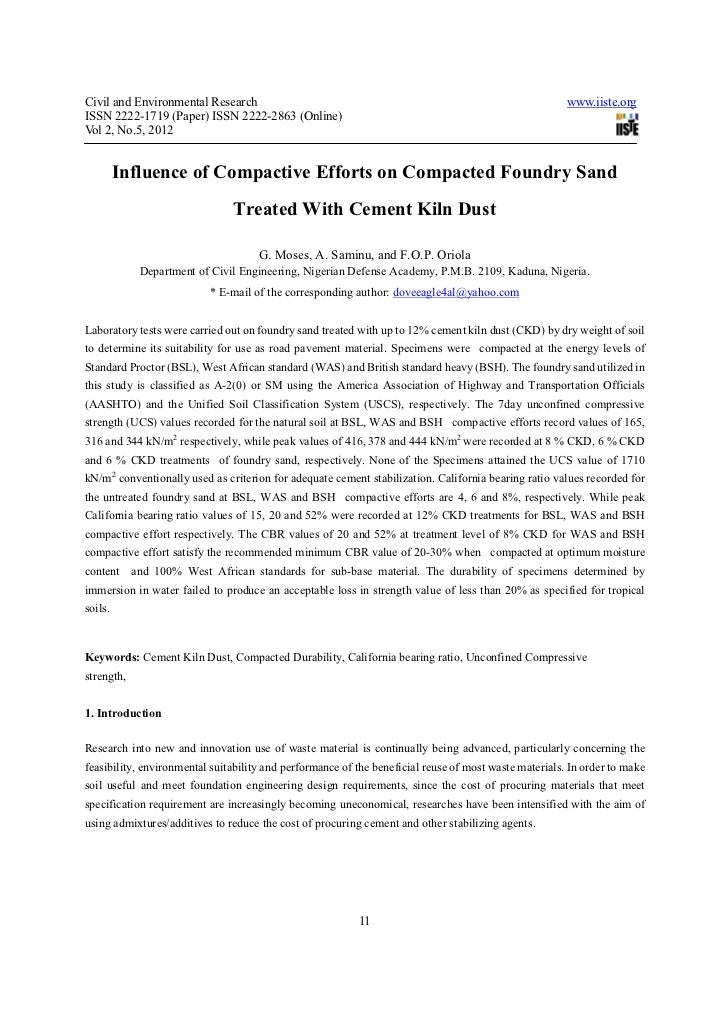 Influence of compactive efforts on compacted foundry sand treated with cement kiln dust