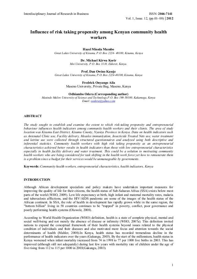 Interdisciplinary Journal of Research in Business ISSN: 2046-7141 Vol. 1, Issue. 12, (pp.01- 08) | 2012 1 Influence of ris...