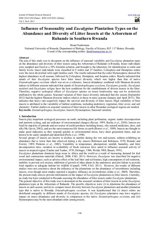 Journal of Natural Sciences Research www.iiste.org ISSN 2224-3186 (Paper) ISSN 2225-0921 (Online) Vol.3, No.8, 2013 116 In...