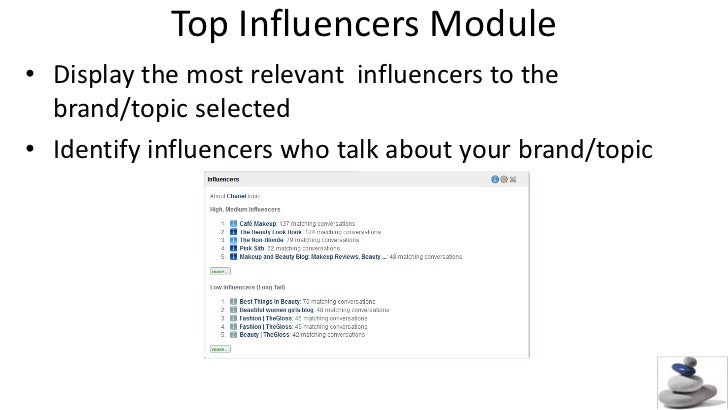 Top Influencers Module<br />Display the most relevant  influencers to the brand/topic selected<br />Identify influencers w...