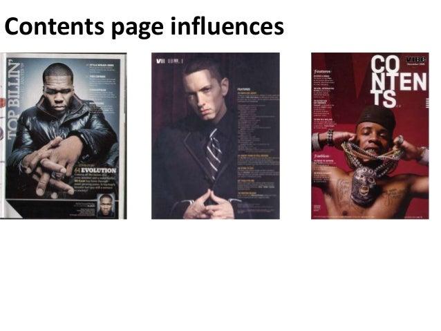 Contents page influences