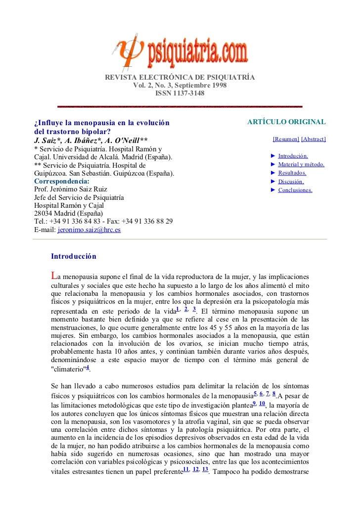 REVISTA ELECTRÓNICA DE PSIQUIATRÍA                             Vol. 2, No. 3, Septiembre 1998                             ...