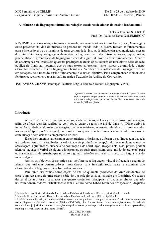 XIX Seminário do CELLIP                                                            De 21 a 23 de outubro de 2009Pesquisa e...