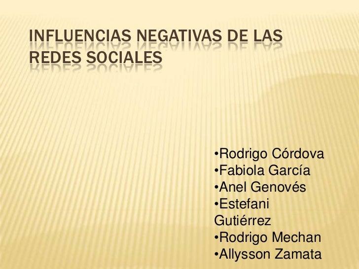 Influencias negativas de las redes sociales