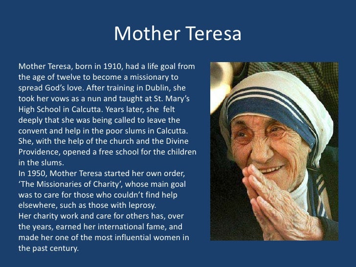 autobiography of mother teresa